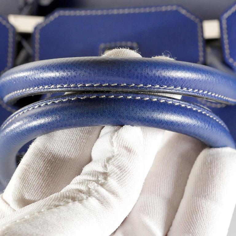 29bcef1646 Hermès Bleu Electrique Epsom 35 cm Birkin Bag with Mykonos Blue Interior For  Sale 8