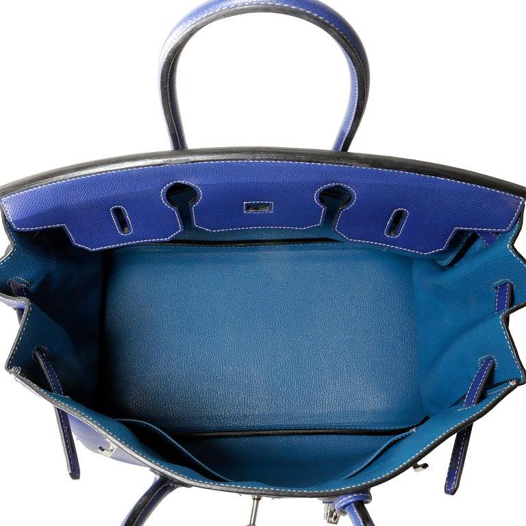 0bc0687635 Hermès Bleu Electrique Epsom 35 cm Birkin Bag with Mykonos Blue Interior For  Sale 9