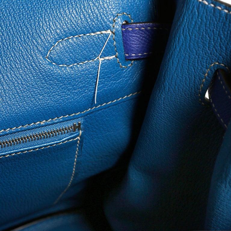 6a14bdd735 Hermès Bleu Electrique Epsom 35 cm Birkin Bag with Mykonos Blue Interior For  Sale 11