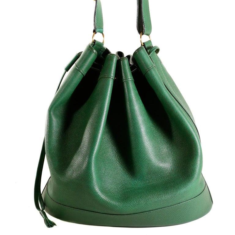 Black Hermès Bengal Green Epsom Leather Drawstring Market Bag  For Sale
