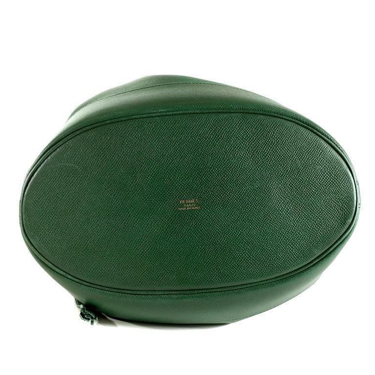 Women's Hermès Bengal Green Epsom Leather Drawstring Market Bag  For Sale
