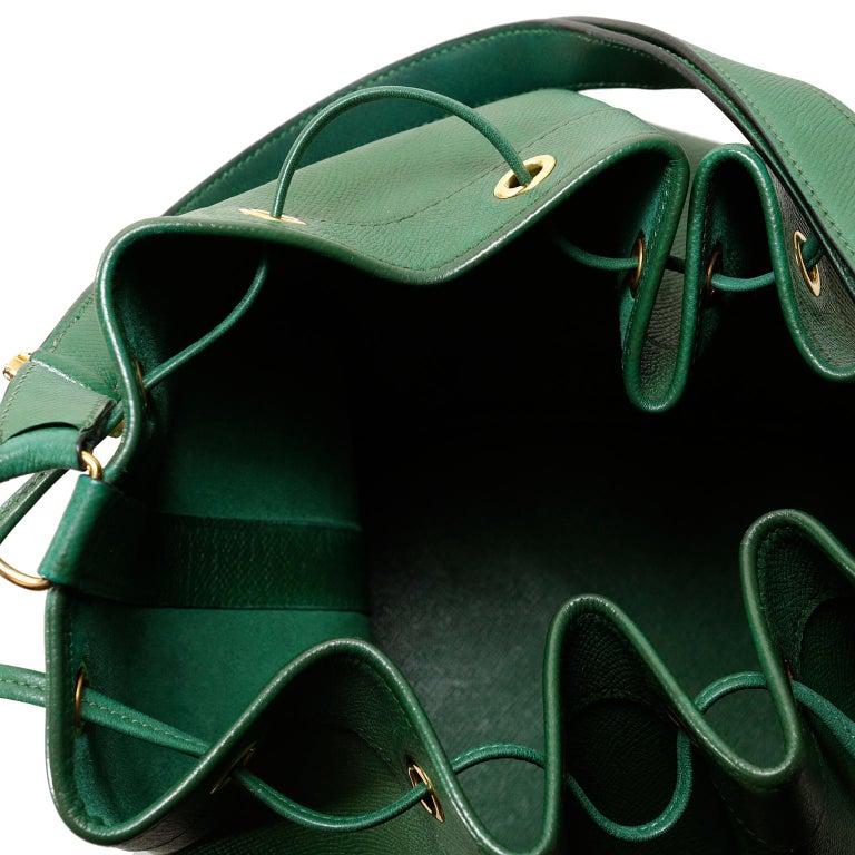 Hermès Bengal Green Epsom Leather Drawstring Market Bag  For Sale 1