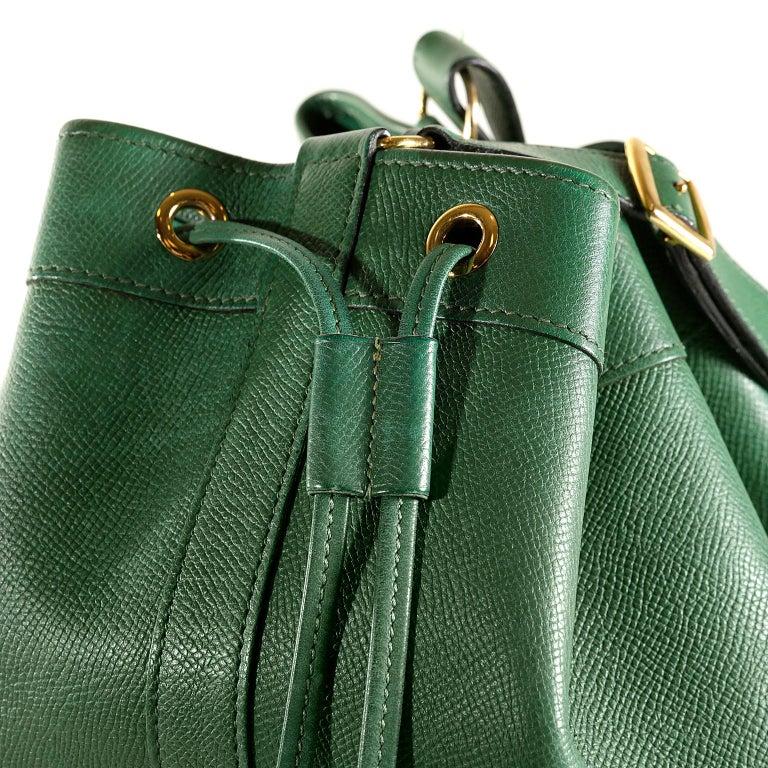 Hermès Bengal Green Epsom Leather Drawstring Market Bag  For Sale 3