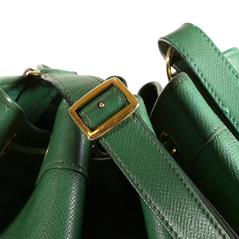 Hermès Bengal Green Epsom Leather Drawstring Market Bag  For Sale 4