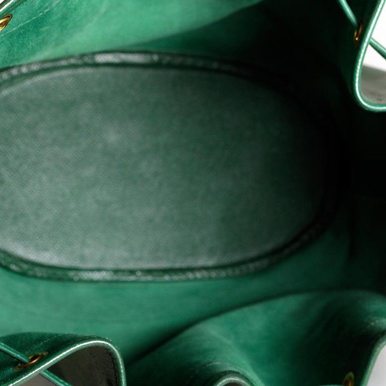 Hermès Bengal Green Epsom Leather Drawstring Market Bag  For Sale 5