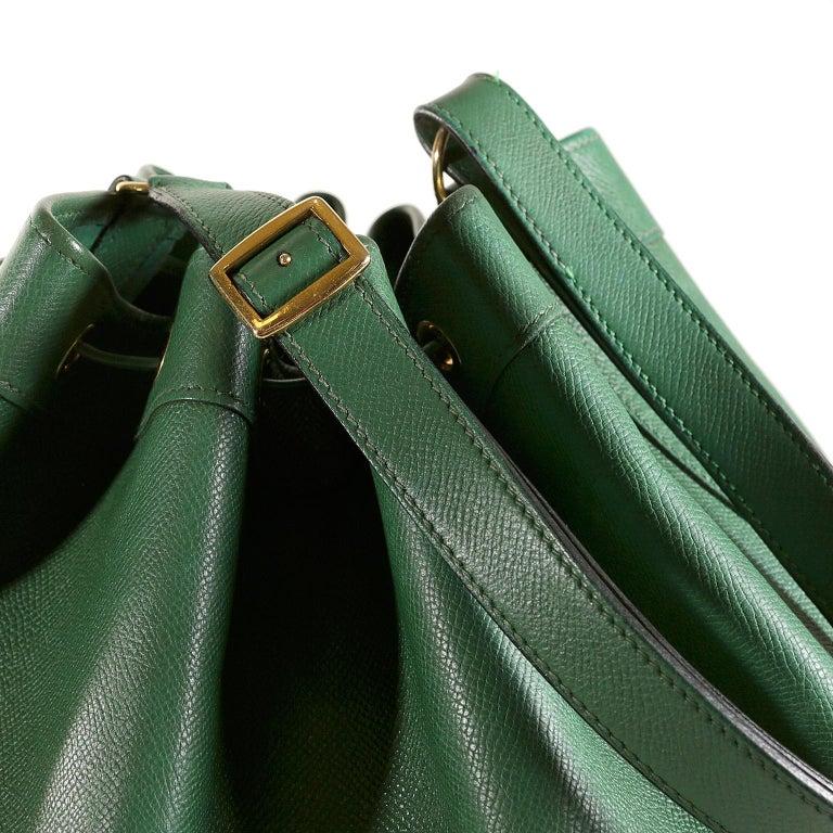 Hermès Bengal Green Epsom Leather Drawstring Market Bag  For Sale 6