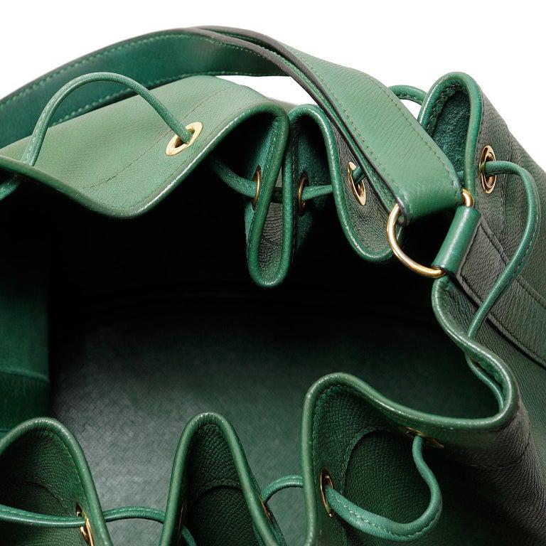 Hermès Bengal Green Epsom Leather Drawstring Market Bag  For Sale 7