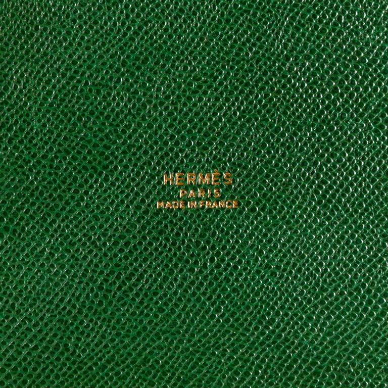 Hermès Bengal Green Epsom Leather Drawstring Market Bag  For Sale 8