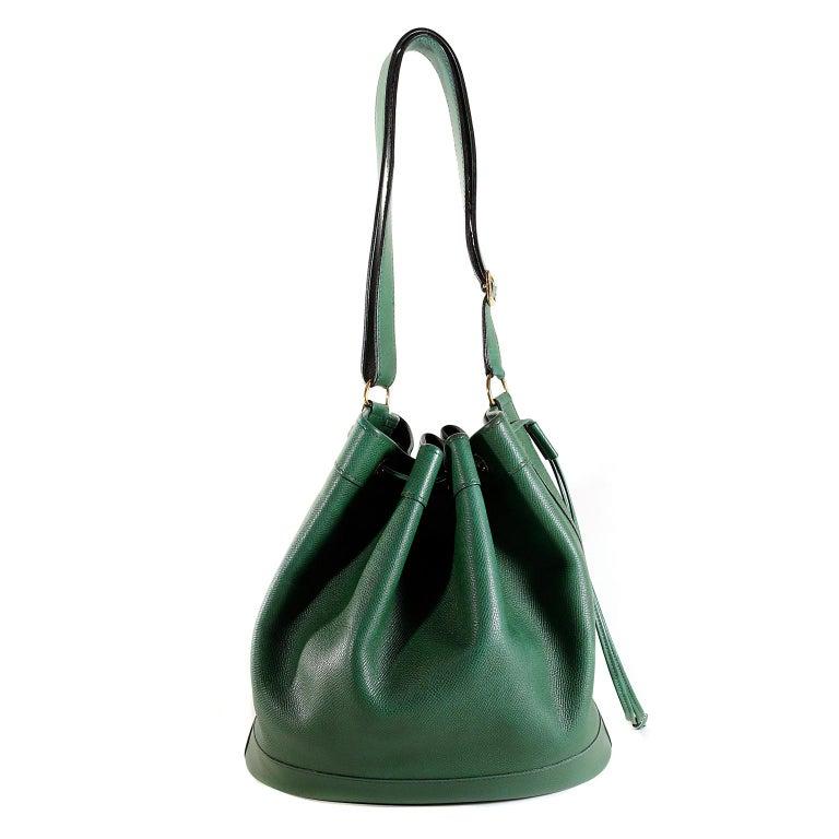 Hermès Bengal Green Epsom Leather Drawstring Market Bag  For Sale 9