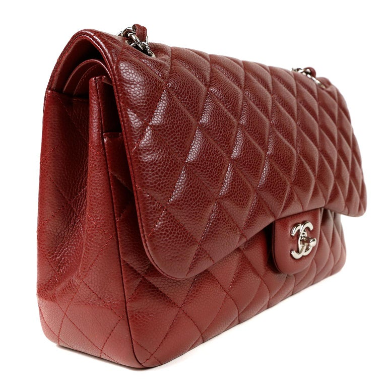 8470110fded7 Chanel Red Caviar Jumbo Classic Flap Bag For Sale at 1stdibs