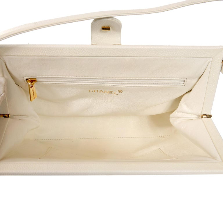 Chanel White Caviar Frame Top Bag For Sale 2
