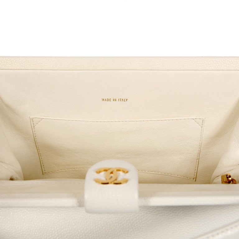 Chanel White Caviar Frame Top Bag For Sale 5