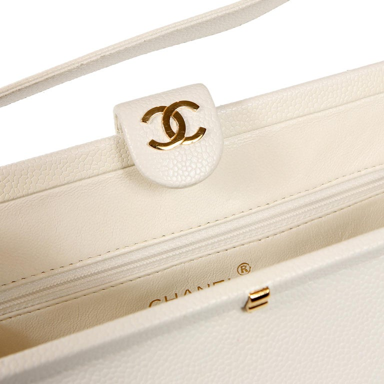 Chanel White Caviar Frame Top Bag For Sale 6