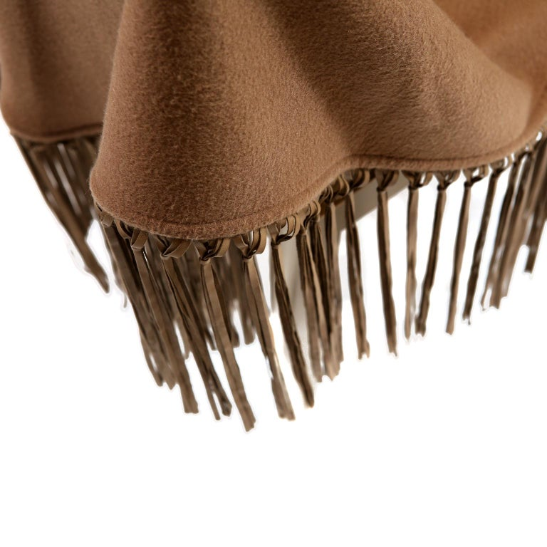 Hermès Brown Cashmere XXL Shawl- Never Worn  Rare and collectible.  Brown very heavy cashmere with leather fringe. Made in France.   A429
