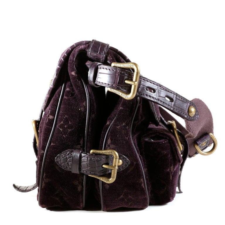 Black Louis Vuitton Eggplant Purple Monogram Velours Clyde Bag For Sale