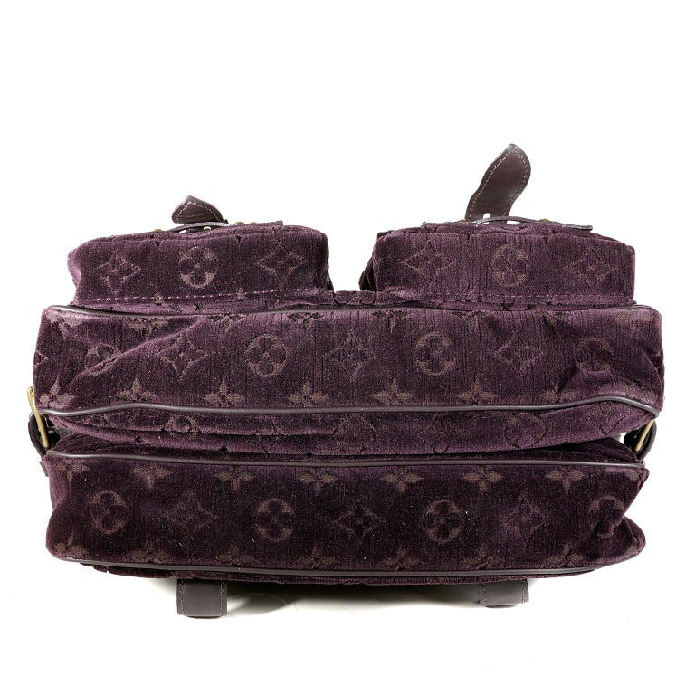 Louis Vuitton Eggplant Purple Monogram Velours Clyde Bag In Excellent Condition For Sale In Palm Beach, FL