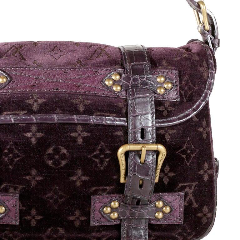 Women's Louis Vuitton Eggplant Purple Monogram Velours Clyde Bag For Sale