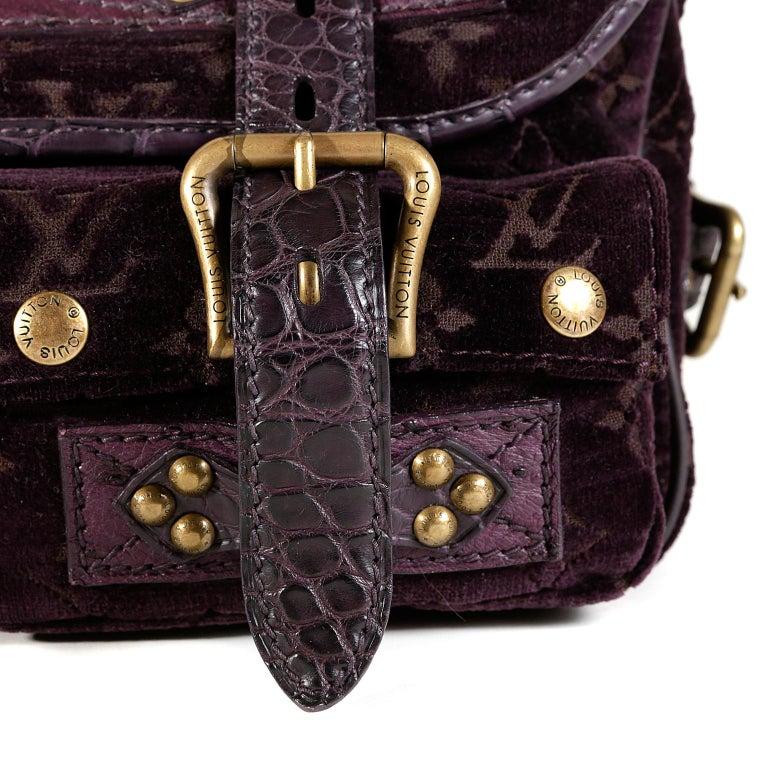Louis Vuitton Eggplant Purple Monogram Velours Clyde Bag For Sale 1