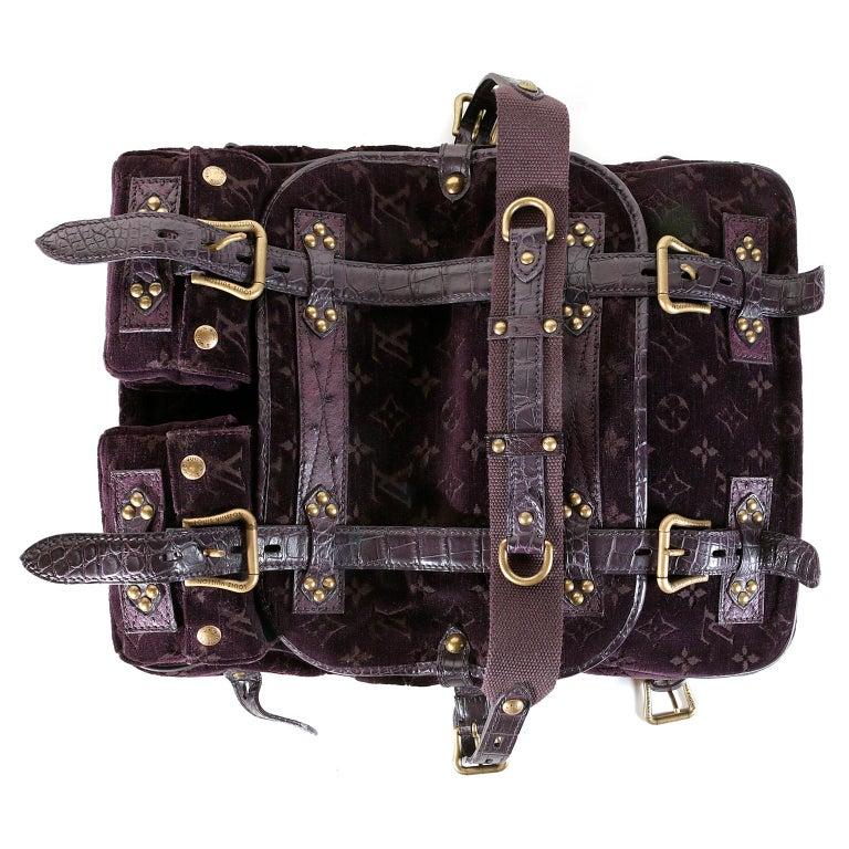 Louis Vuitton Eggplant Purple Monogram Velours Clyde Bag For Sale 2
