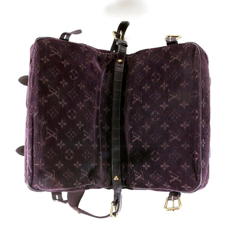 Louis Vuitton Eggplant Purple Monogram Velours Clyde Bag For Sale 3
