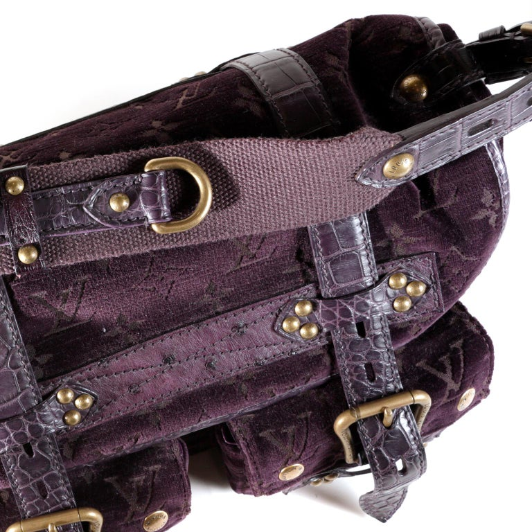 Louis Vuitton Eggplant Purple Monogram Velours Clyde Bag For Sale 4