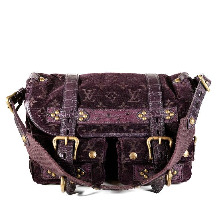 Louis Vuitton Eggplant Purple Monogram Velours Clyde Bag For Sale 7