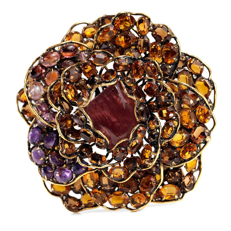 Iradj Moini Crystal Flower Large Brooch For Sale 1