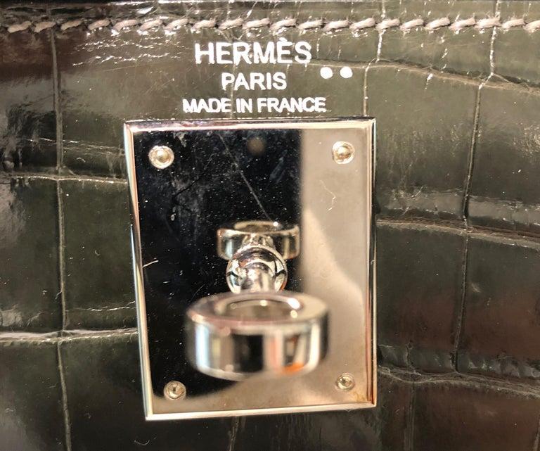 Hermès Graphite Niloticus Crocodile 32 cm Kelly Bag For Sale 1