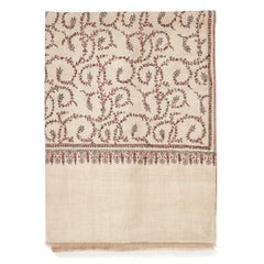 Hand Embroidered 100% Cashmere Shawl in Natural Taupe Made in Kashmir India