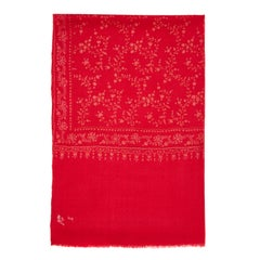 Limited Edition Hand Embroidered Cashmere Shawl in Cherry Red made in Kashmir
