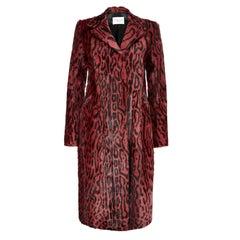 Verheyen London Longline Leopard Print Coat in Ruby