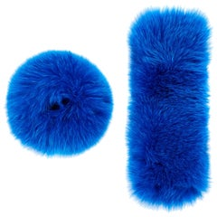 Verheyen London Snap on Fox Fur Cuffs in Blue Topaz