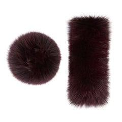 Verheyen London Snap on Fox Fur Cuffs in Burgundy