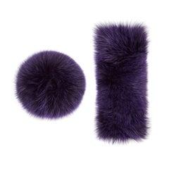 Verheyen London Snap on Fox Fur Cuffs in Purple Amethyst