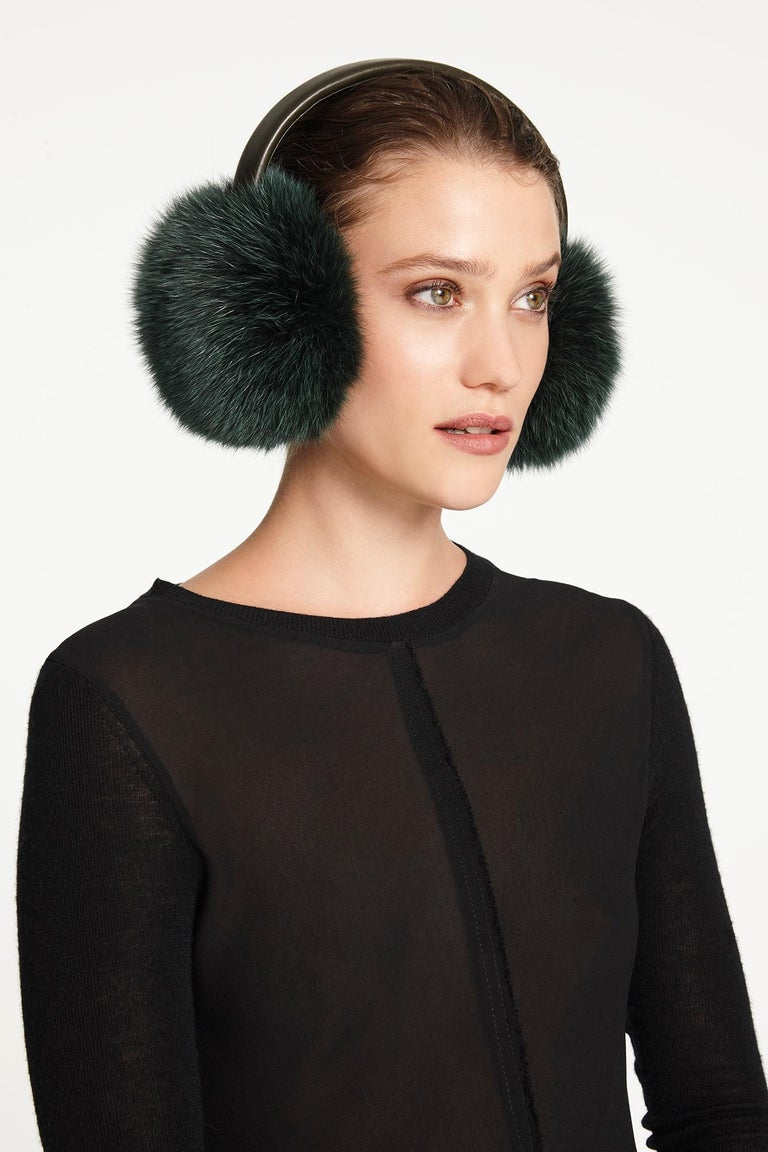 Blue Verheyen London Ear Muffs in Olive Fox Fur For Sale