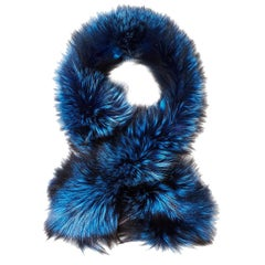 Verheyen London Lapel Cross-through Collar in Sapphire Fox Fur & Silk Lining