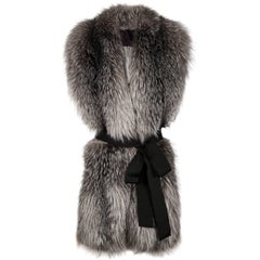 Verheyen London Legacy Stole Natural Blue Frost Fox Fur & Silk Lining
