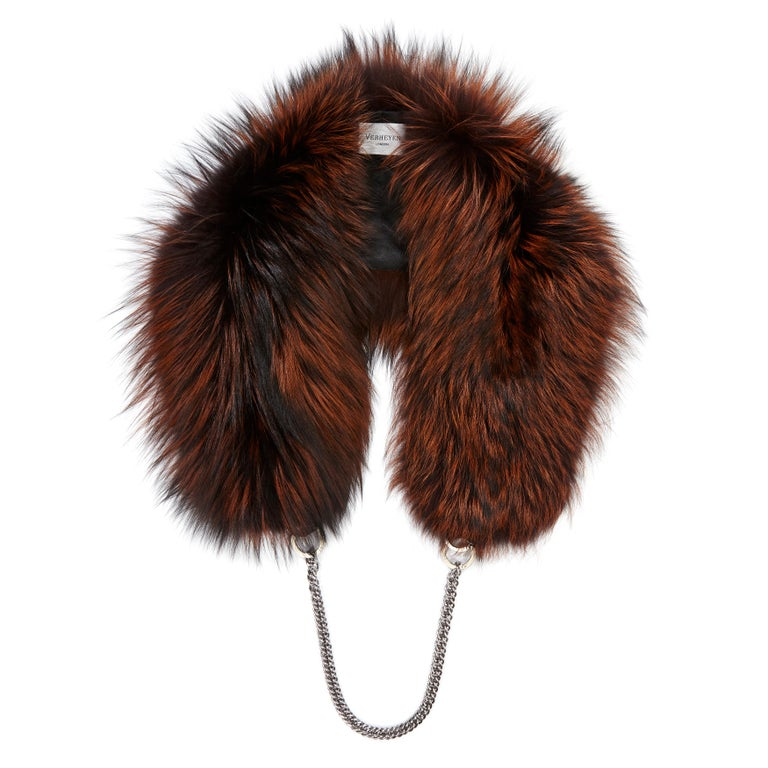 Verheyen London Chained Stole in Orange Dyed Fox Fur & Silk Lining with Chain For Sale