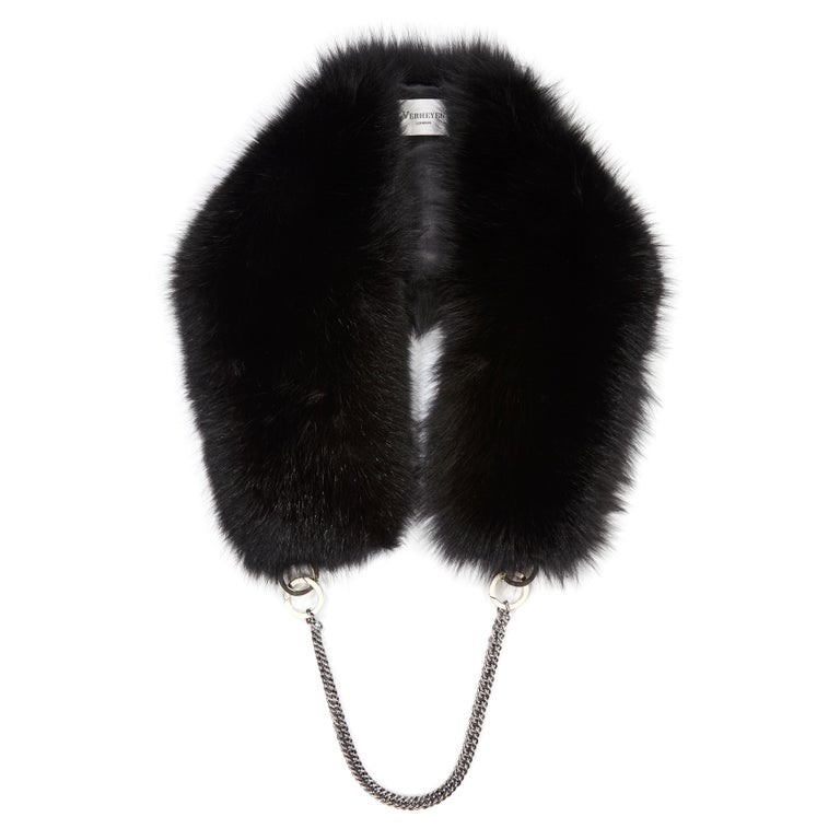 Verheyen London Chained Stole in Black Fox Fur & Silk Lining with Chain For Sale