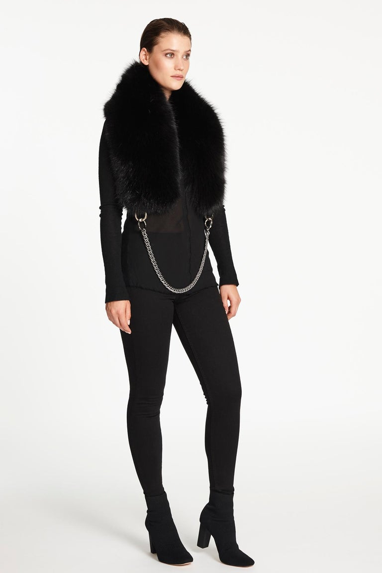 Women's or Men's Verheyen London Chained Stole in Black Fox Fur & Silk Lining with Chain For Sale