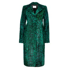 Verheyen London Longline Leopard Print Coat in Emerald Goat Hair Fur