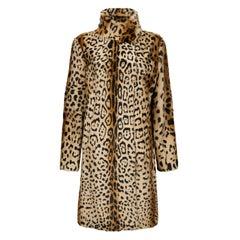 Verheyen London High Collar Leopard Print Coat in Natural Goat Hair Fur