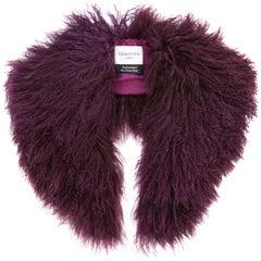 Verheyen London Shawl Collar in Garnet Burgundy Mongolian Lamb Fur