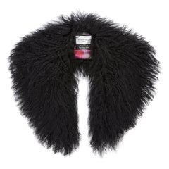 Verheyen London Shawl Collar in Black Mongolian Lamb Fur Lined in 100% Silk