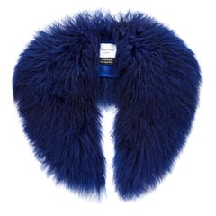Verheyen London Shawl Collar in Sapphire Mongolian Lamb Fur lined in silk
