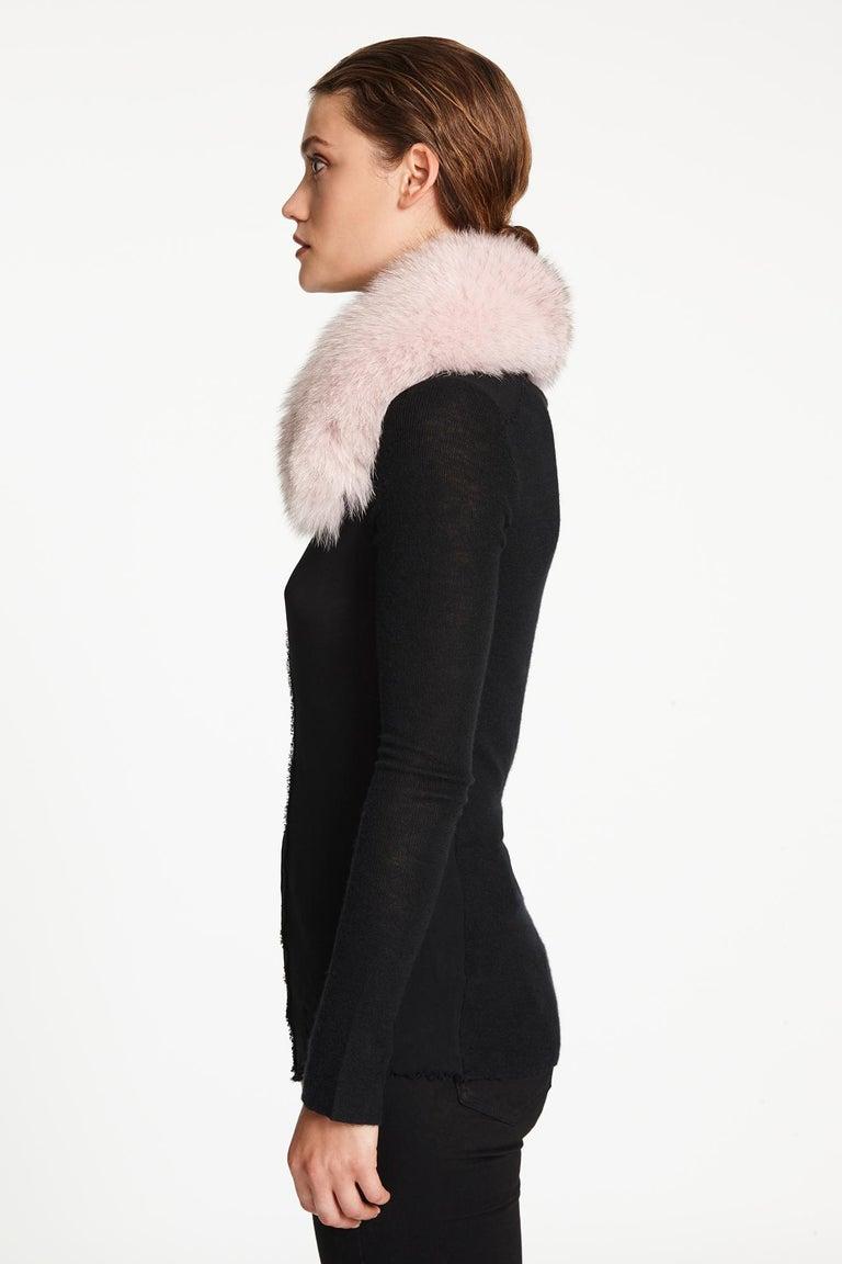 Verheyen London Peter Pan Collar in Pastel Rose Pink Fox Fur and lined in silk  1