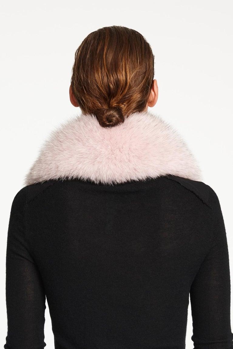 Verheyen London Peter Pan Collar in Pastel Rose Pink Fox Fur and lined in silk  2