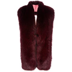 Verheyen London Legacy Stole in Garnet Fox Fur & Silk Lining - Brand New