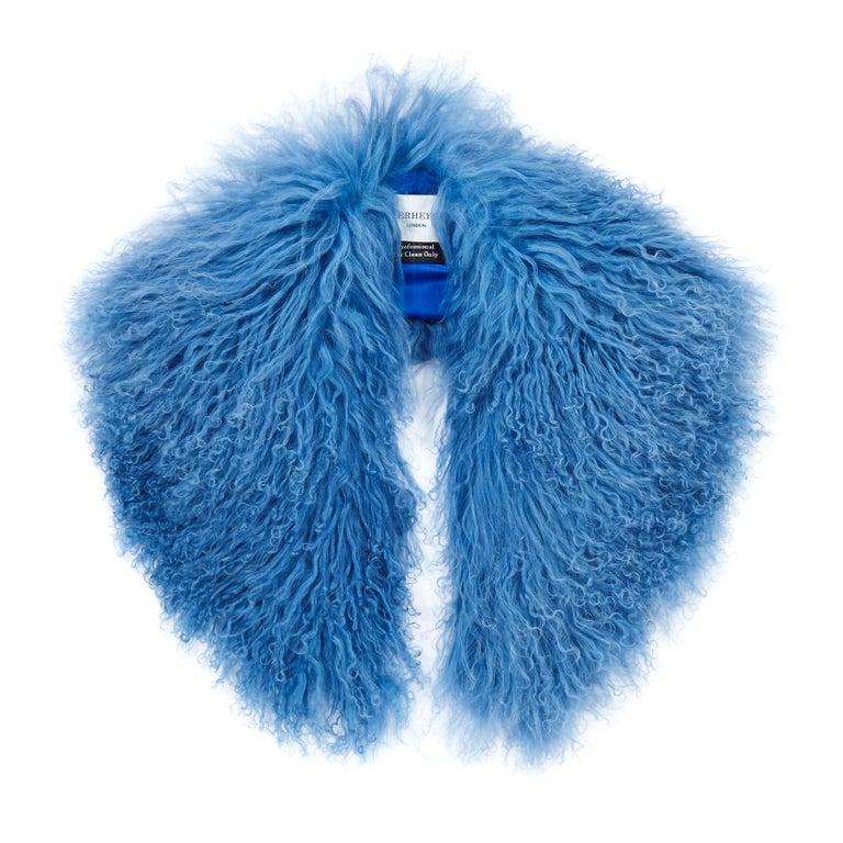 Verheyen London Shawl Collar in Blue Topaz Mongolian Lamb Fur lined in silk   For Sale
