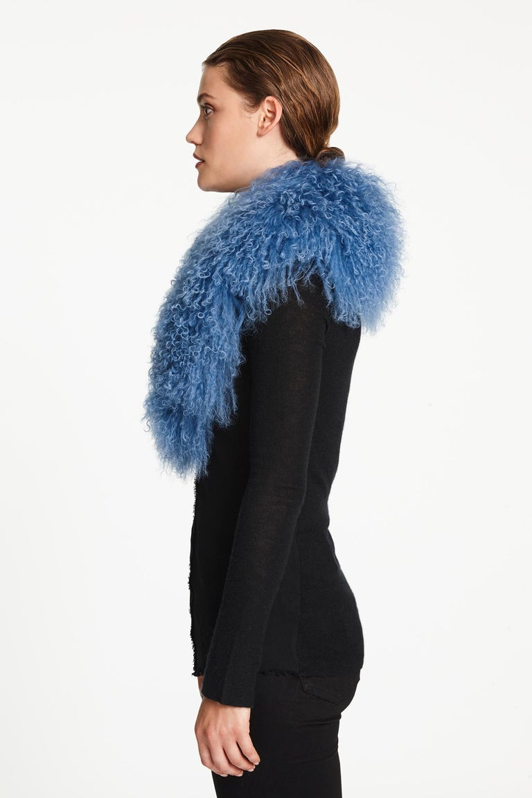 Verheyen London Shawl Collar in Blue Topaz Mongolian Lamb Fur lined in silk   For Sale 1